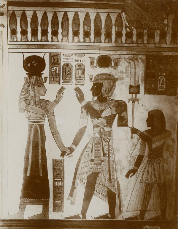 King Ramses III introducing his deceased son Prince Amenherkhepeshef to Hathor, Mistress of the West.  Wall Painting From: the Tomb of Amenherkhepeshef (QV 55), Thebes (Vicky Metafora, contrib.)