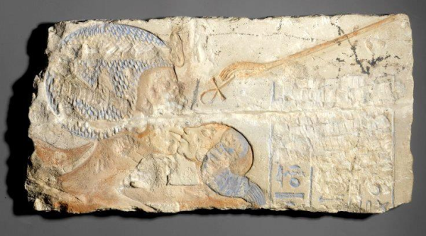 "Nefertiti kissing a daughter,"" found in Hermopolis, Brooklyn Museum Accession Number: 60.197.8 (Yvonne Buskens, contrib.)"