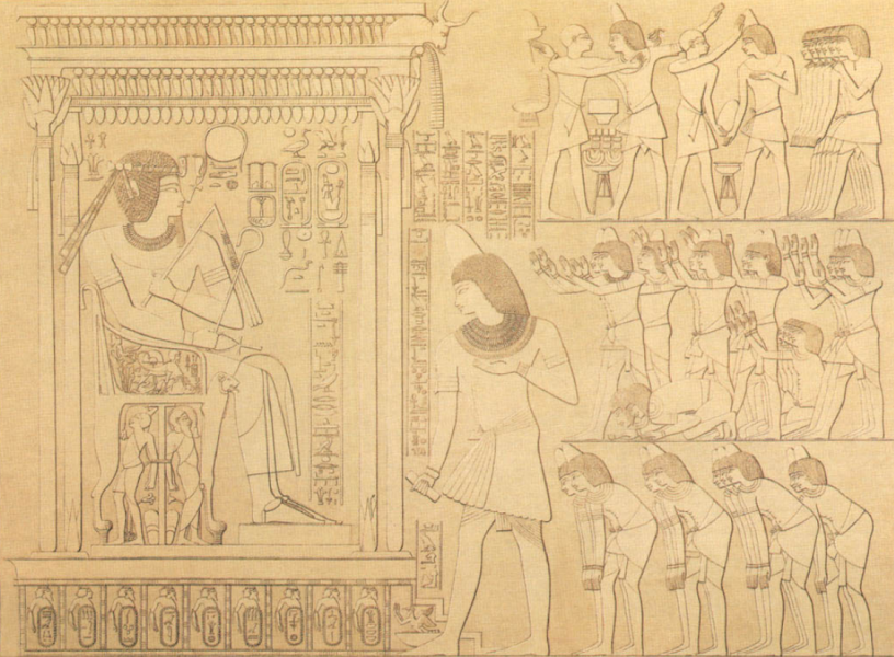 Kha'emhet, Overseer of Granaries, gives homage to Amenhotep III at his heb sed  (by Prisse d'Avennes)