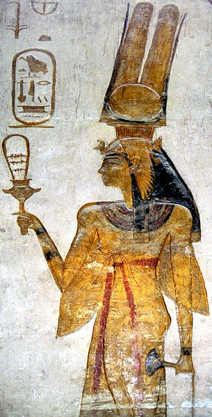 Nefertari with a Hathor Sistrum, photo in the public domain