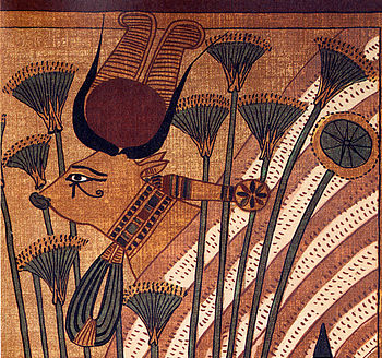 Hathor in bovine form, facsimile from the Book of the Dead of Ani, image in the public domain.