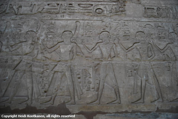 Reliefs depicting the procession of Opet from the first court of Luxor Temple (Photo by Heidi Kontkanen)