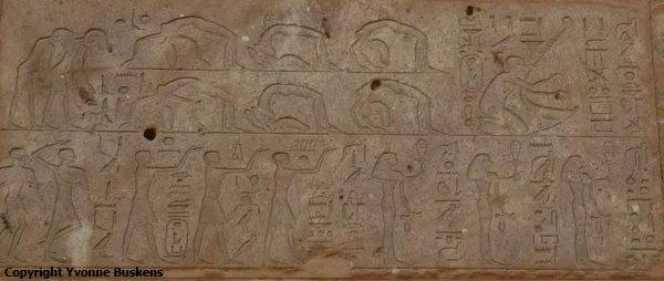 Celebrating the Opet and Beautiful Feast, dancers and acrobats, from the Red Chapel of Hatshepsut at Karnak, Eighteenth Dynasty (Photo by Yvonne Buskens)