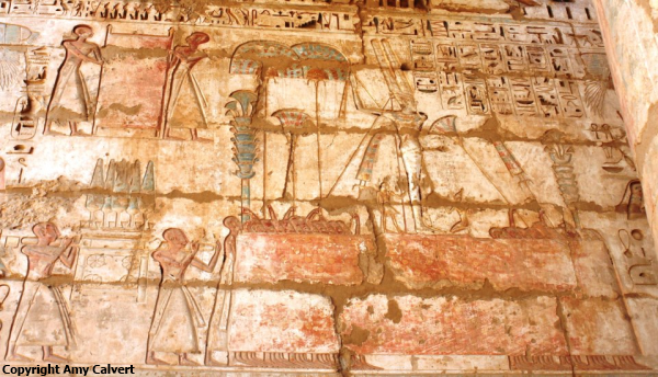 Min carried in procession, Temple of Ramesses III at Medinet Habu (Photo by Amy Calvert)