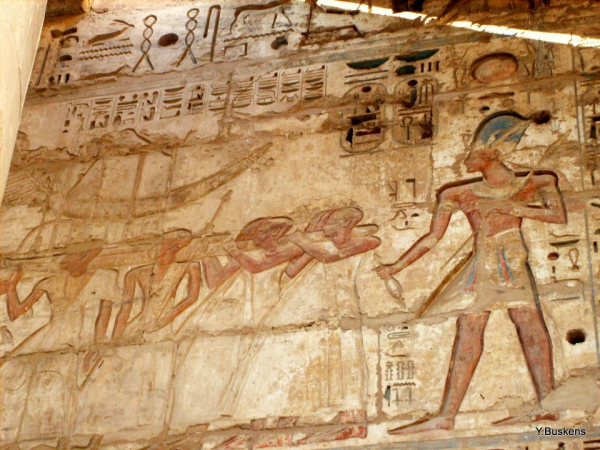Ramses III following the Sokar barque in procession, Medinet Habu (Photo Yvonne Buskens, January 2010)