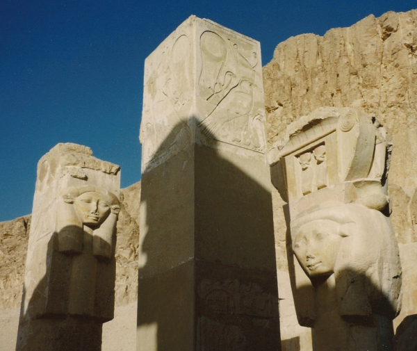 Hathor pillars at the chapel at Deir el-Bahri (Photo by Keith Payne)
