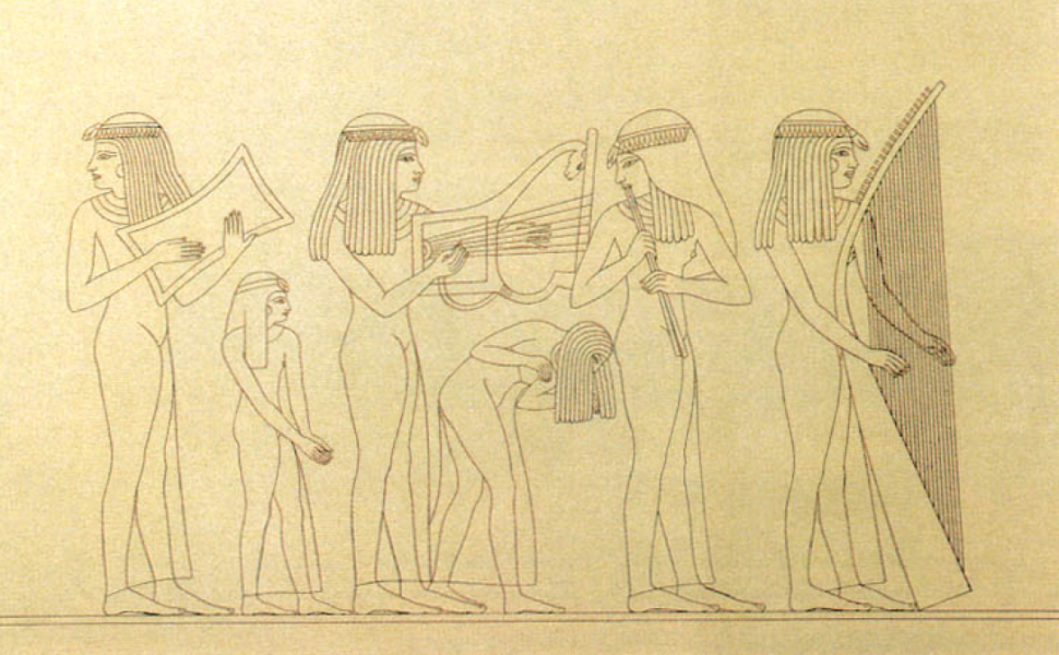 Musicians and dancers from an anonymous tomb from the reign of Thutmose III, by Prisse d'Avennes