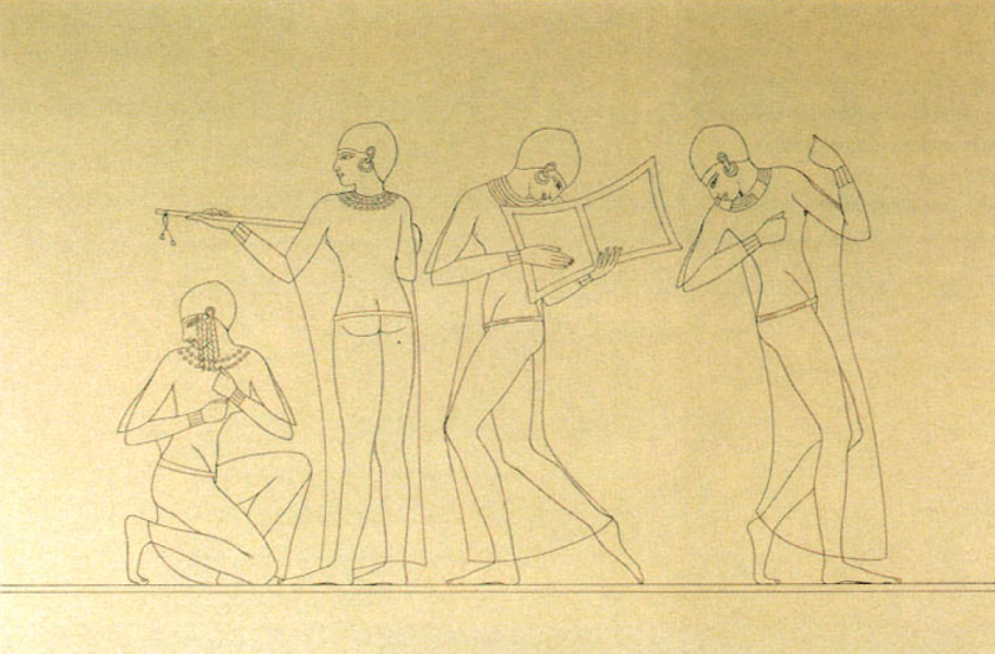 Musicians and dancers from the tomb of Mery, First Prophet of Amun in the reign of Amenhotep II, by Prisse d'Avennes