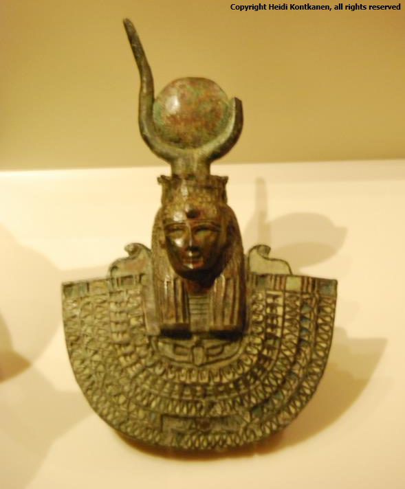 A bronze aegis with head of Hathor (ÄM2820).  Twenty-Sixth Dynasty. Neues Museum, Berlin.  (Photo by Heidi Kontkanen)