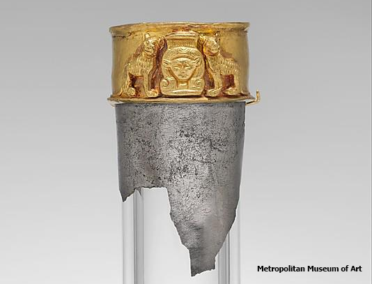 Neck from a vessel depicting the goddess Hathor flanked by felines (Yvonne Buskens, contrib.)