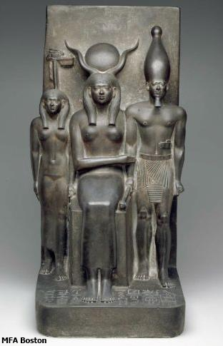 Beautiful Hathor in the middle, she embraces King Menkaura, who is standing to her left. Museum of fine Arts Boston Accession number: 09.200 (Yvonne Buskens, contrib.)