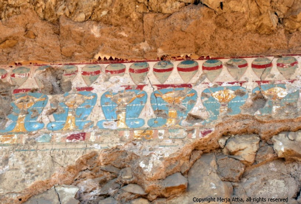Hathor-themed fringe in Senenmut's tomb (TT71) (Photo by Merja Attia)