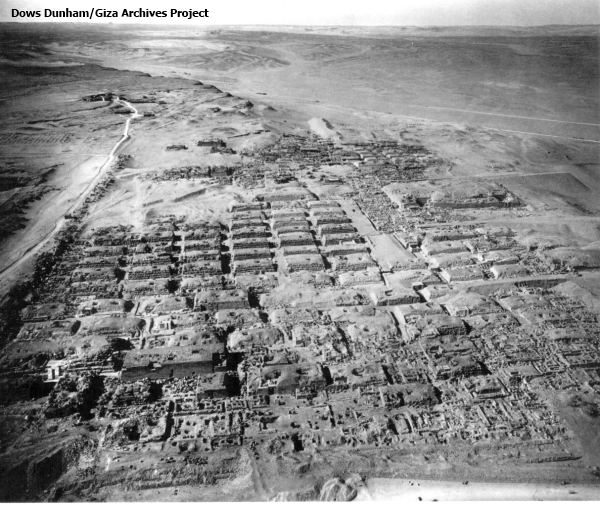 The Western Cemetery at Giza, looking west from the top of the Great Pyramid, with Reisner's Harvard Camp in the background (Vicky Metafora, contrib.)