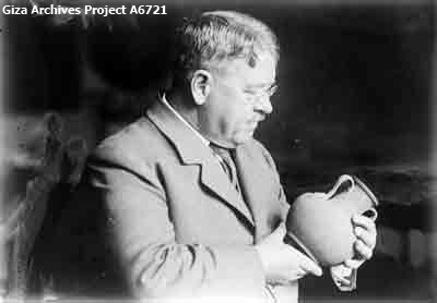George Reisner with ceramic vessel; March 29, 1929 (Giza Archives Project A6721)