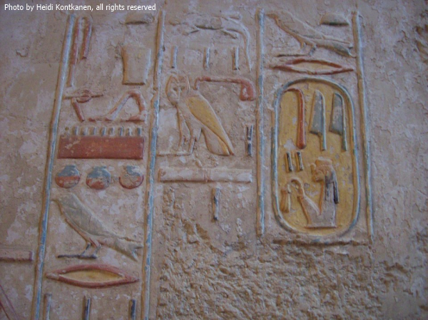 Cartouche of Tiye from the tomb of Kheuref—TT192—taken in 2008 (Photo by Heidi Kontkanen)