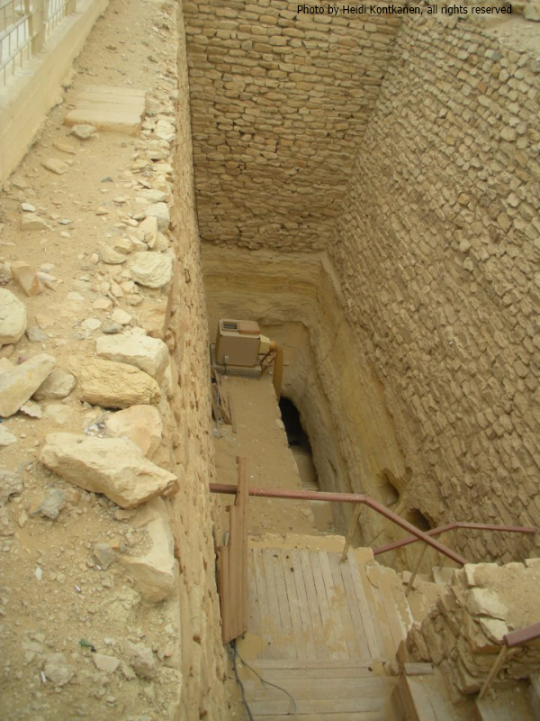 The entrance to the South Tomb, it is an almost 20 meters-long passageway that is connected to the open shaft (Photo by Heidi Kontkanen, 2011)