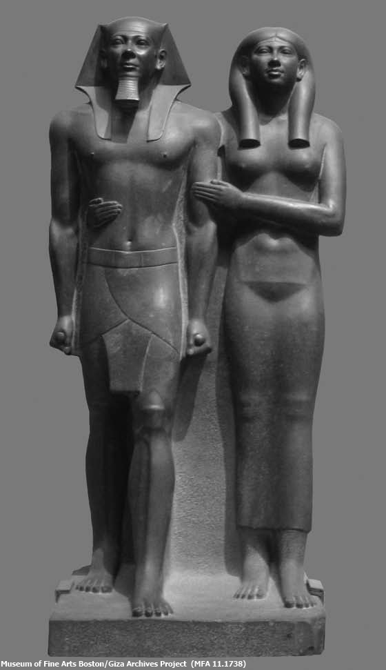 Menkaure dyad featuring the king and an unnamed queen (Courtesy of the Giza Archives Project)
