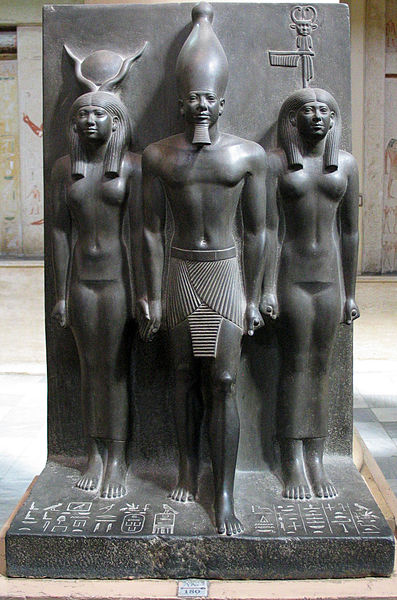 Triad of Menkaure with Hathor and Bat, nome god of Diospolis Parva.