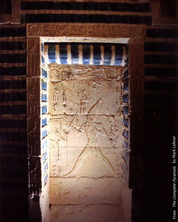 King Djoser running the heb sed – one of three false door stelae in the blue-tiled chambers in the South Tomb (Jean Smith, contrib.)