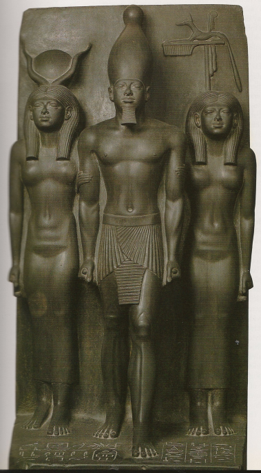 Triad of Menkaure with Hathor and Cinopolis Nome god.