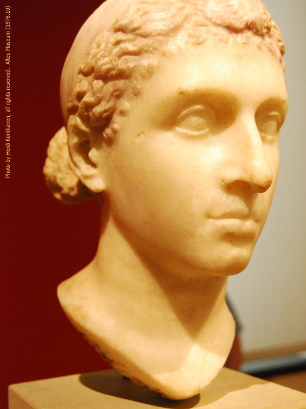 Marble portrait of Cleopatra from ca. 40-30 BC which may have been in a private villa south of Rome (Altes 1976.10, photo by Heidi Kontkanen)