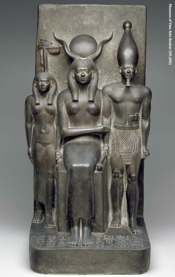 Triad of Menkaure with Hathor and deified Hare nome