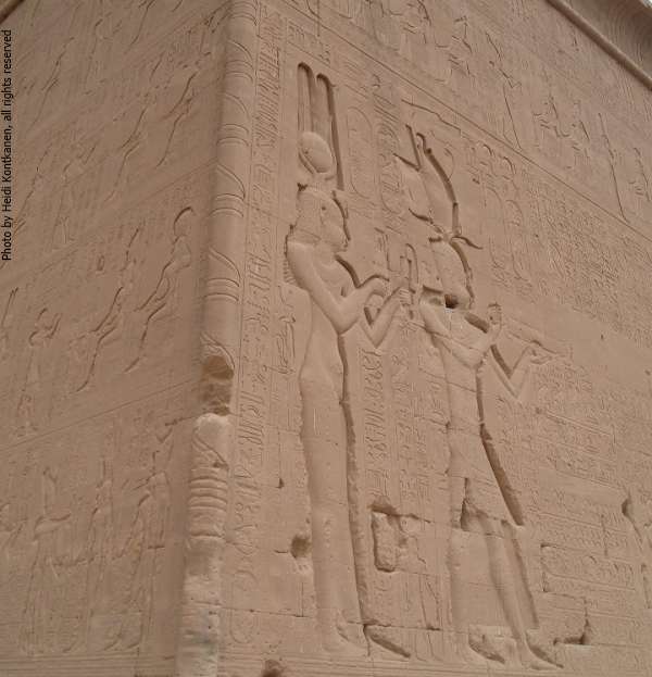 From the southern exterior wall of the Temple of Hathor at Dendera, Cleopatra VII and her son Ptolemy XV (Photo by Heidi Kontkanen, 2007)