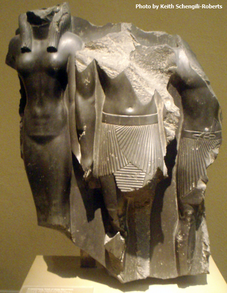 Triad of Menkaure with Thebes Nome god (Photo by Keith Schengili-Roberts.