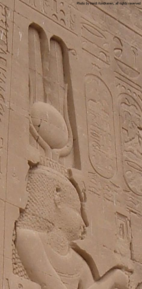 Detail of Cleopatra VII from the exterior wall at the Temple of Hathor at Dendera (Phot by Heidi Kontkanen, 2007)
