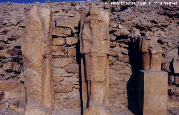 Three unfinished block statues of Pharaoh Djoser (Photo by Richie O'Neil)