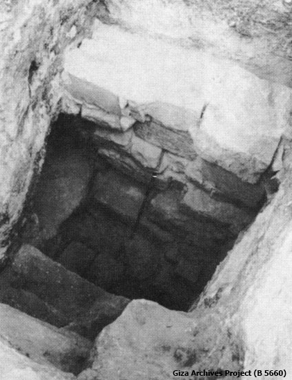 Blocking partly removed to show entrance to stairway into the shaft (Giza Archives Project B 5660)