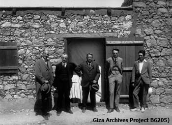 Arthur Merton (London Times), Alfred Lucas, George Reisner, Dows Dunham, and Noel F. Wheeler, outside the magazine for G 7000 X, Hetepheres I; April 11, 1927 (Giza Archives Project B6205)
