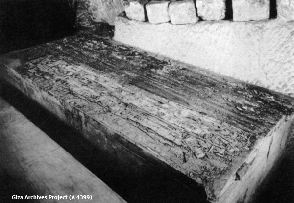 The collapsed gold inlays of the canopy holder on the surface of the alabaster coffin after the canopy had been removed—another jigsaw puzzle to be restored (Giza Archives Project A 4399)
