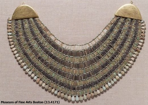 Broad collar with modern terminals, Fifth Dynasty, Giza tomb G 1360 excavated by Reisner, 1913 (Yvonne Buskens, contrib.)