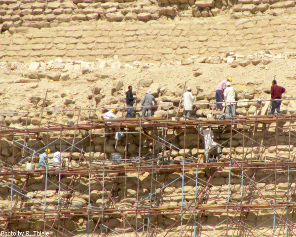 Renovation work at the pyramid (Photo by R. Thiele, 2011)