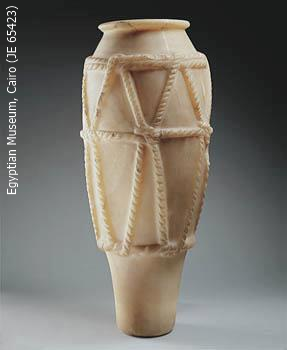 Vase with rope decoration from the underground galleries in the Djoser complex (Yvonne Buskens, contrib.)