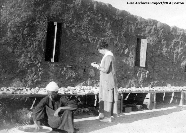 Mary Reisner mending faience at Nuri Camp, Sudan in 1917 (Vicky Metafora, contrib.)