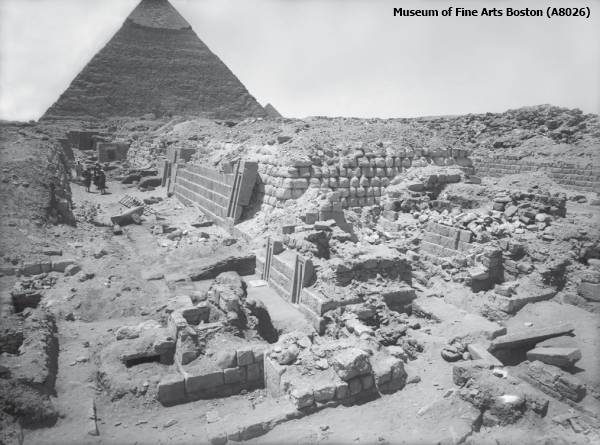 A view of Cemetery G 2100 at Giza, looking southwest to Khafre's Pyramid (Courtesy of Museum of Fine Arts Boston)