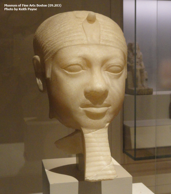 Travertine head of Pharaoh Menkaure, from the Valley Temple of that pharaoh (Museum of Fine Arts 09.203)