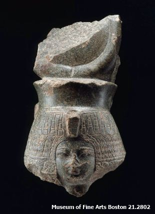 Head of Queen Tiye, Eighteenth Dynasty, reign of Amenhotep III, from Dongolola Province of Sudan, gift to Reisner from Jackson Pasha (Museum of Fine Arts Boston 21.2802)