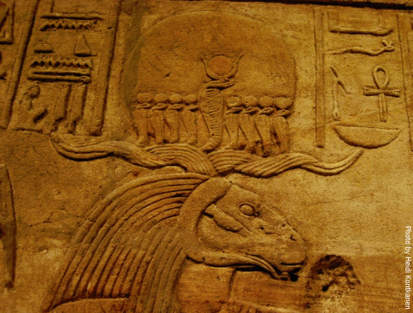 Detail from the Shrine of king Taharqa. King Taharqa offers to the ram-headed god Amun-Ra. 25th dynasty, Ashmolean Museum, Oxford. (Photo by Heidi Kontkanen, 2012)