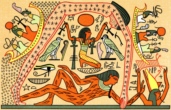 Shu holds the sky goddess Nut over the earth god Geb, surrounded by gods of the Ennead (From Wallis Budge)