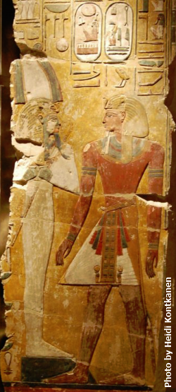 Seti I in front of Osiris. From a pillar from his tomb KV 17, 19th Dynasty, photo taken at Neues Museum (Photo by Heidi Kontkanen, 2012)