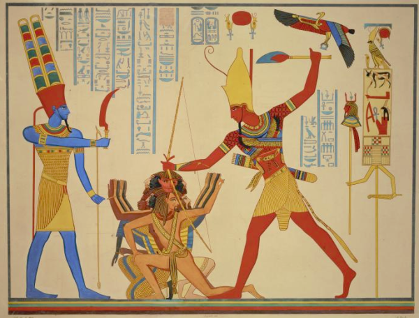 "Ramesses II smiting a group of prisoners before Amun-Re, copied from Abu Simbel, from Champollion's ""Monuments de l'Égypte et de la Nubie"" (Public domain)"