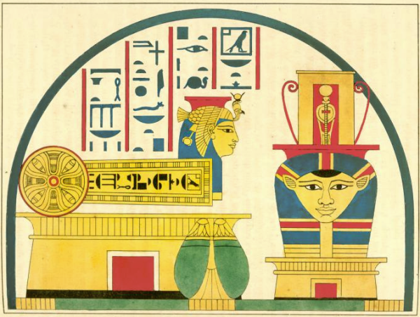 "Symbols of the goddess Hathor, from Champollion's ""Pantheon egyptien"" (Public domain, Vicky Metafora, contrib.)"