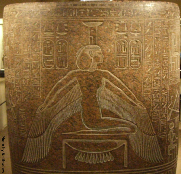 Nephthys on the granite sarcophagus of Ramesses III (Photo by Neithsabes)