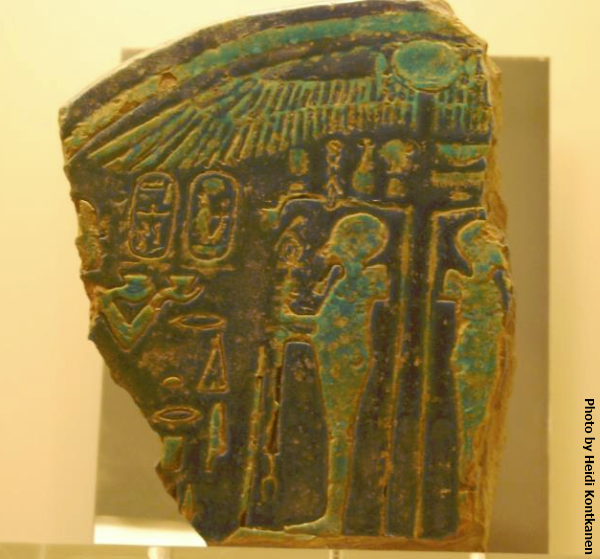 Fragment of a plaque depicting king Amenhotep III adoring god Ptah. 18th Dynasty.  National Archaeological Museum of Athens, (Photo by Heidi Kontkanen, 2012)