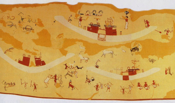 The scene from the Painted Tomb (T100) from which we see early examples of motifs which will persist in pharaonic art for thousands of years (Source: Hierakonpolis Expedition, Richie O'Neill, contrib.)