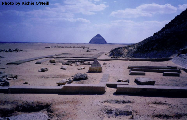 The Bent Pyramid from the Red Pyramid with pyramidion (Photo by Richie O'Neill)