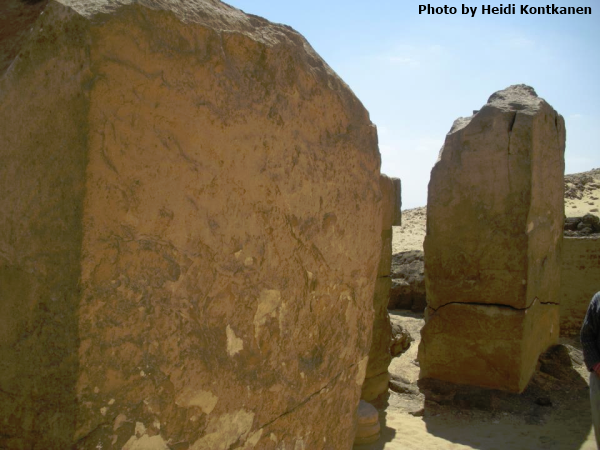 Close-up of the two round-topped stelae in situ at the eastern chapel of the Bent Pyramid (Photo by Heidi Kontkanen)